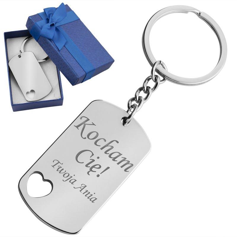 Brelok breloczek do kluczy Nieśmiertelnik Serce z Grawerem