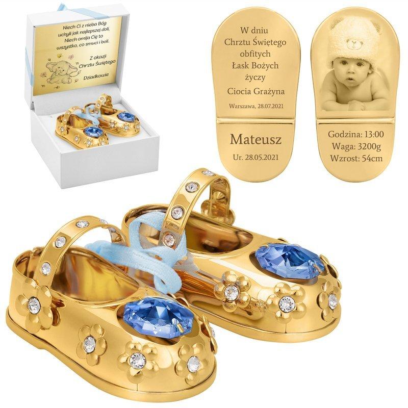 Buciki baletki Niebieskie chrzest roczek Swarovski Grawer