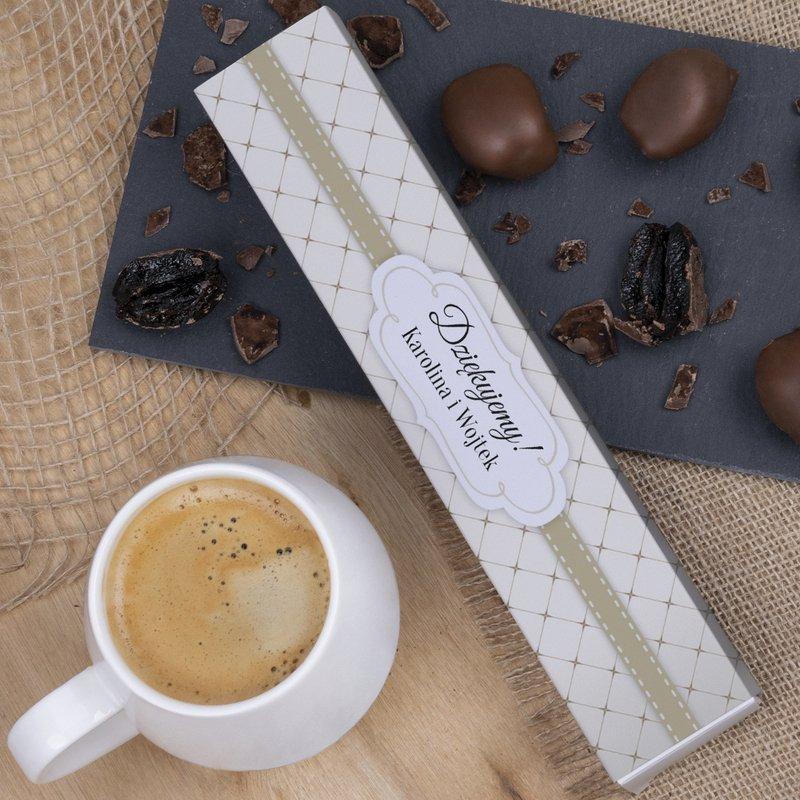 Śliwki w czekoladzie mlecznej na ślub- złota wstążka 140g
