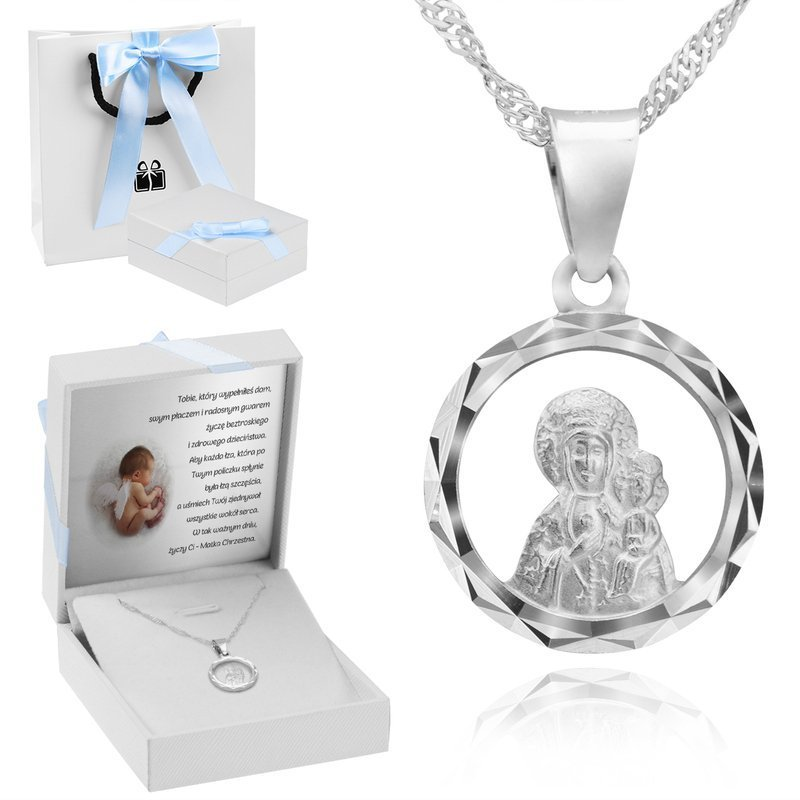 Srebrny Medalik Matka Boska Częstochowska Grawer