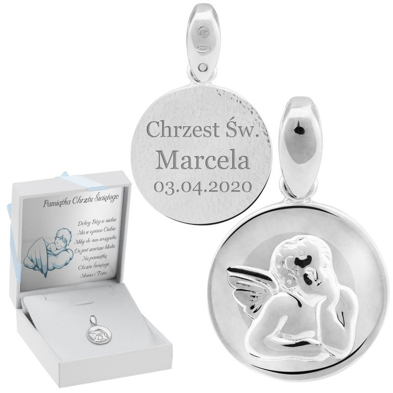 Srebrny medalik próby 925 Anioł Stróż Grawer