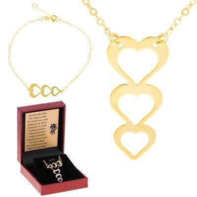 Zestaw 3 serduszka Bransoletka i naszyjnik złoto pr. 0.333 Dedykacja złota kokardka