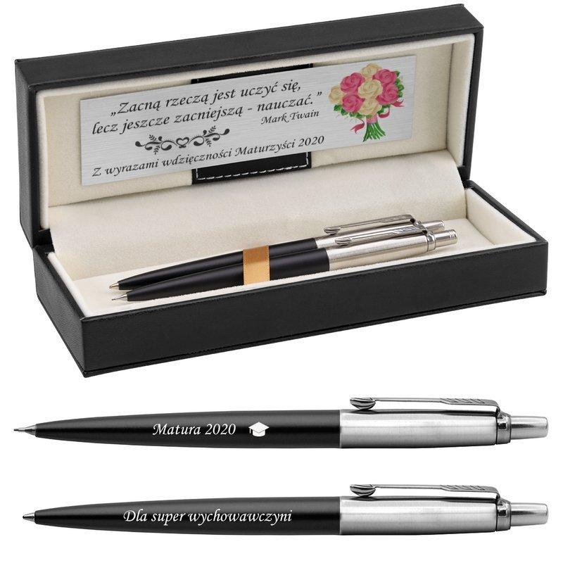 Zestaw Parker Długopis Ołówek Jotter Czarny CT Etui z Grawerem