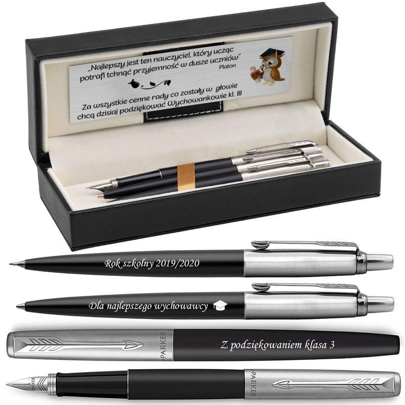 Zestaw Parker Pióro Długopis Jotter Bond Street CT Czarne z Grawerem