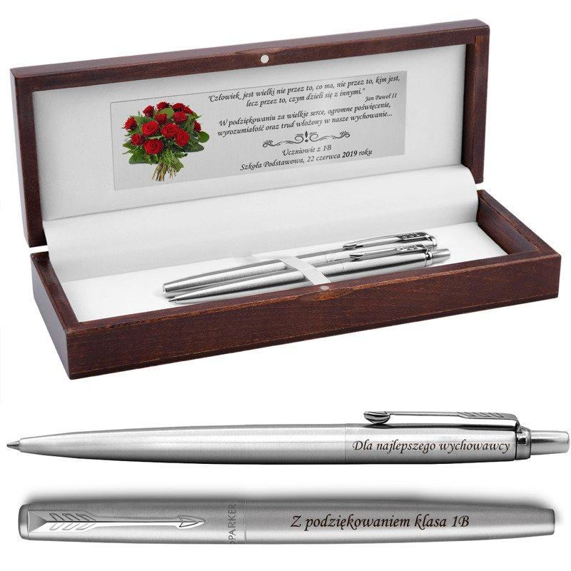 Zestaw Pióro i Długopis Parker Jotter stalowe CT Drewniane Pudełko Grawer
