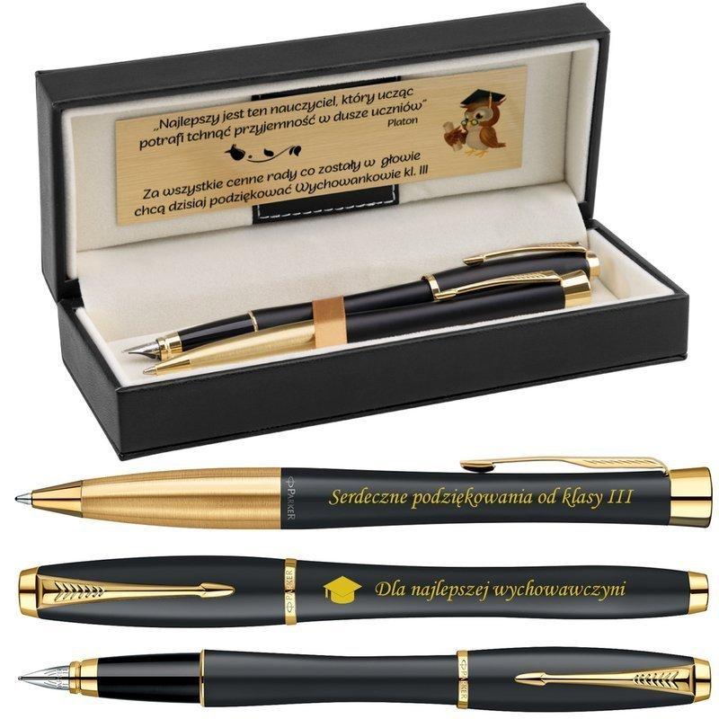 Zestaw Pióro wieczne i Długopis Parker Urban Czarny z Grawerem i Etui