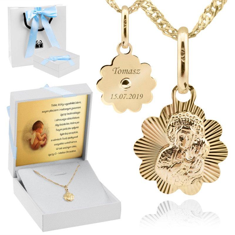 Złoty medalik łańcuszek Matka Boska Częstochowska pr. 333 na Chrzest Komunię z Grawerem