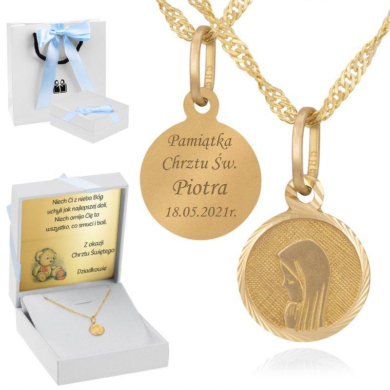 Złoty medalik okrągły Madonna pr. 585 Grawer niebieska kokardka
