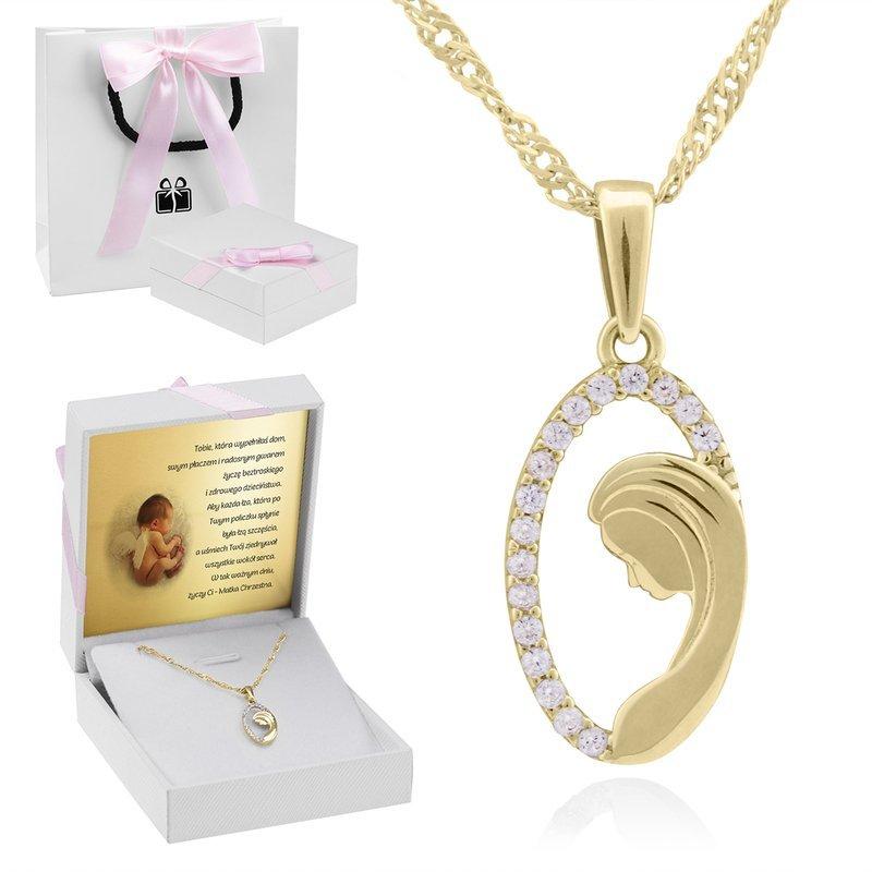Złoty medalik z Matką Boską w owalu z cyrkoniami pr. 585 Dedykacja