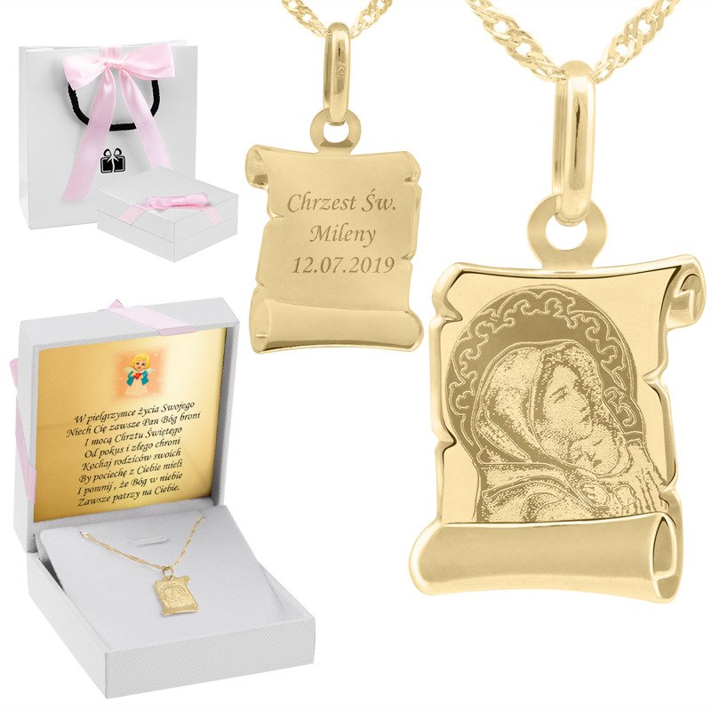 Złoty medalik z łańcuszkiem próba 585 Matka Boska z Dzieciątkiem Chrzest Komunia Grawer