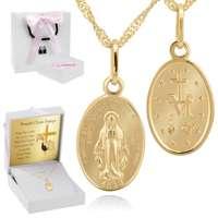 Złoty Cudowny Medalik Z Dedykacją Różowy