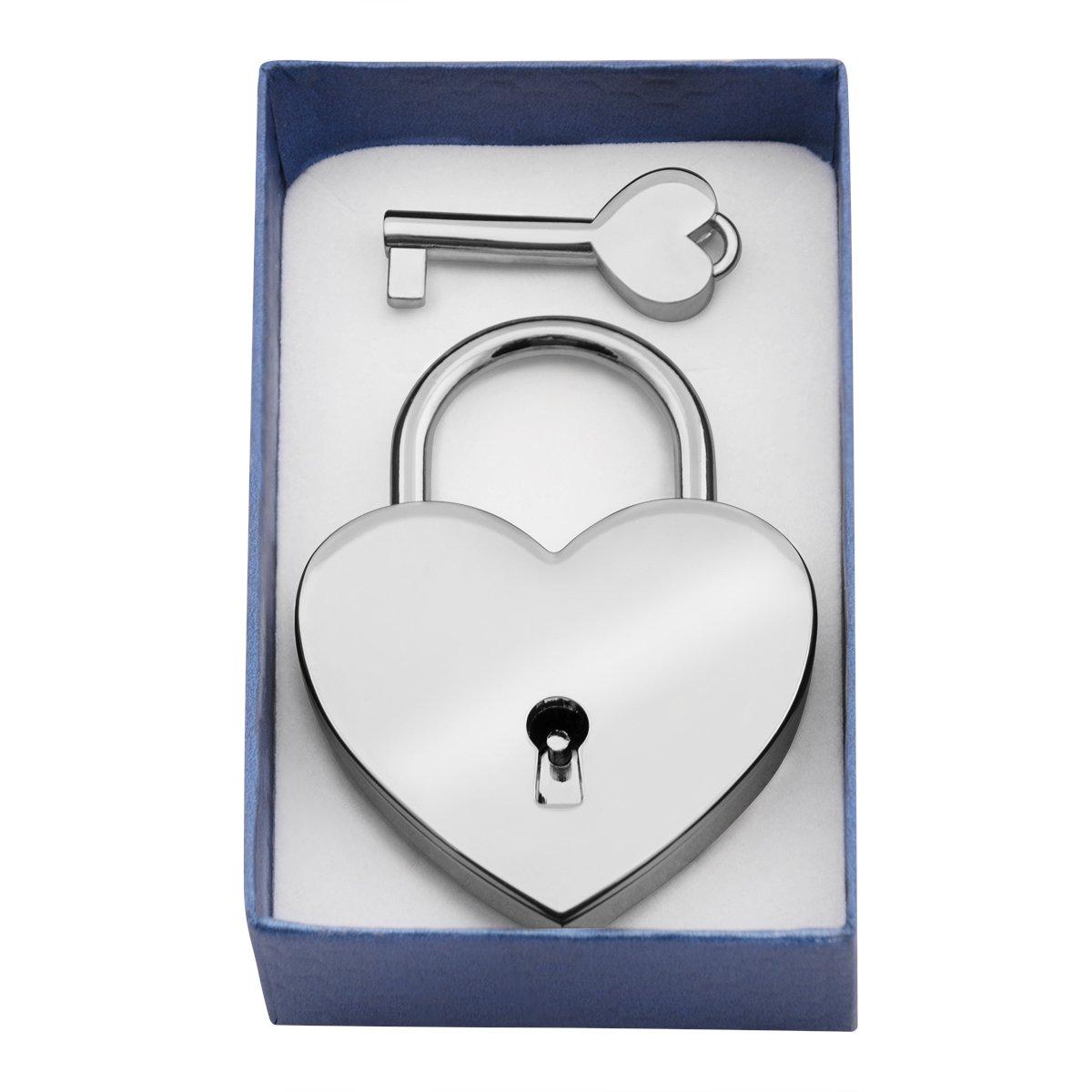 Chromowana Kłódka miłości serce Duża na most zdjęcia Walentynki Grawer