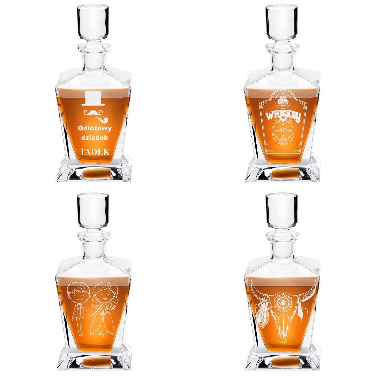 Karafka ze szkła do whisky 750 ml KROSNO z Rantem Prezent z Grawerem