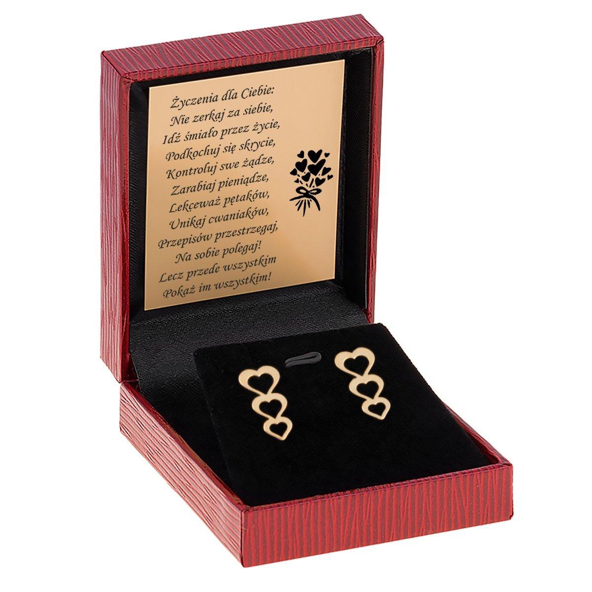 Kolczyki 3 serduszka złoto pr. 333 Prezent Dedykacja