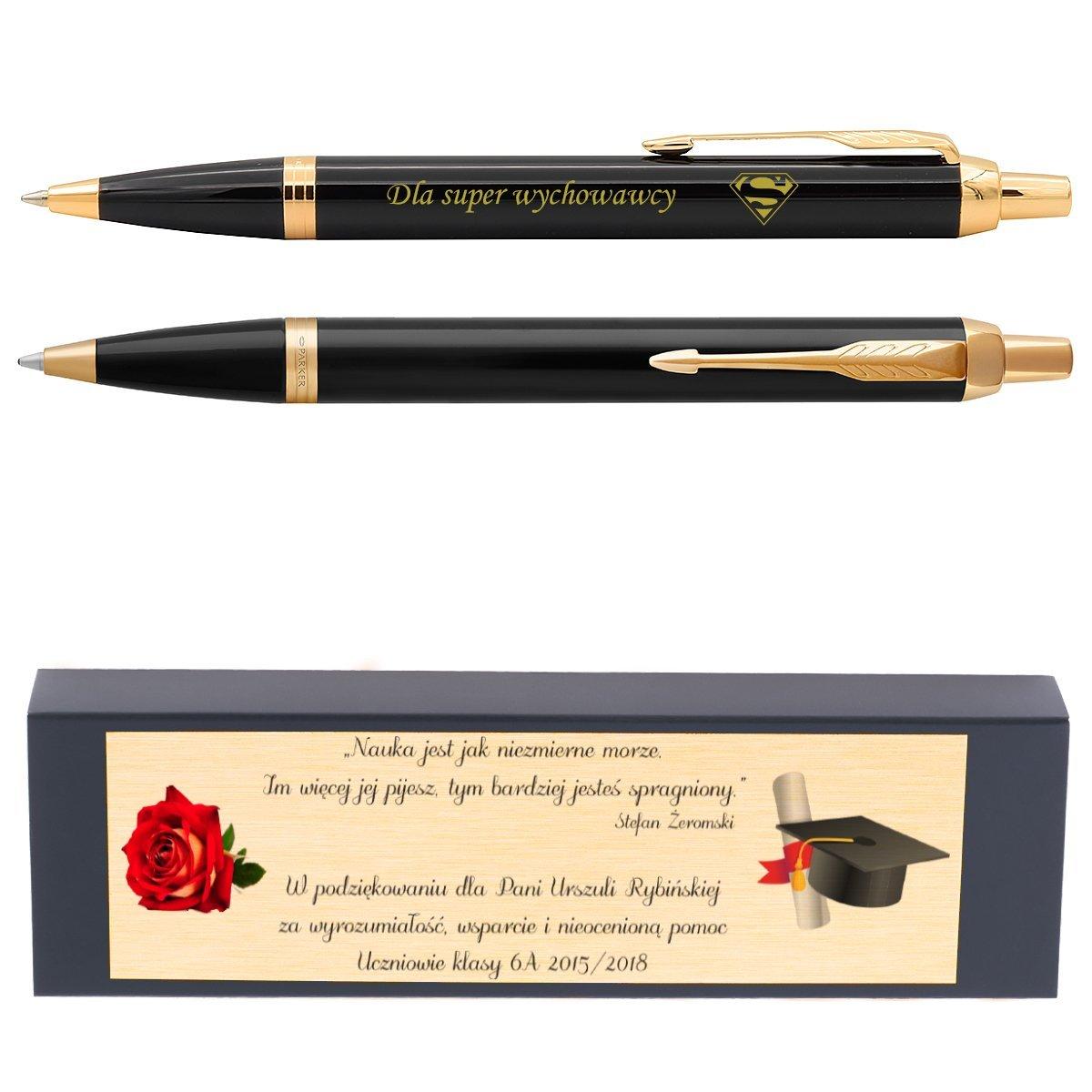 Oryginalny Długopis Parker IM Czarny z GRAWEREM oraz TABLICZKA z dedykacją Gratis