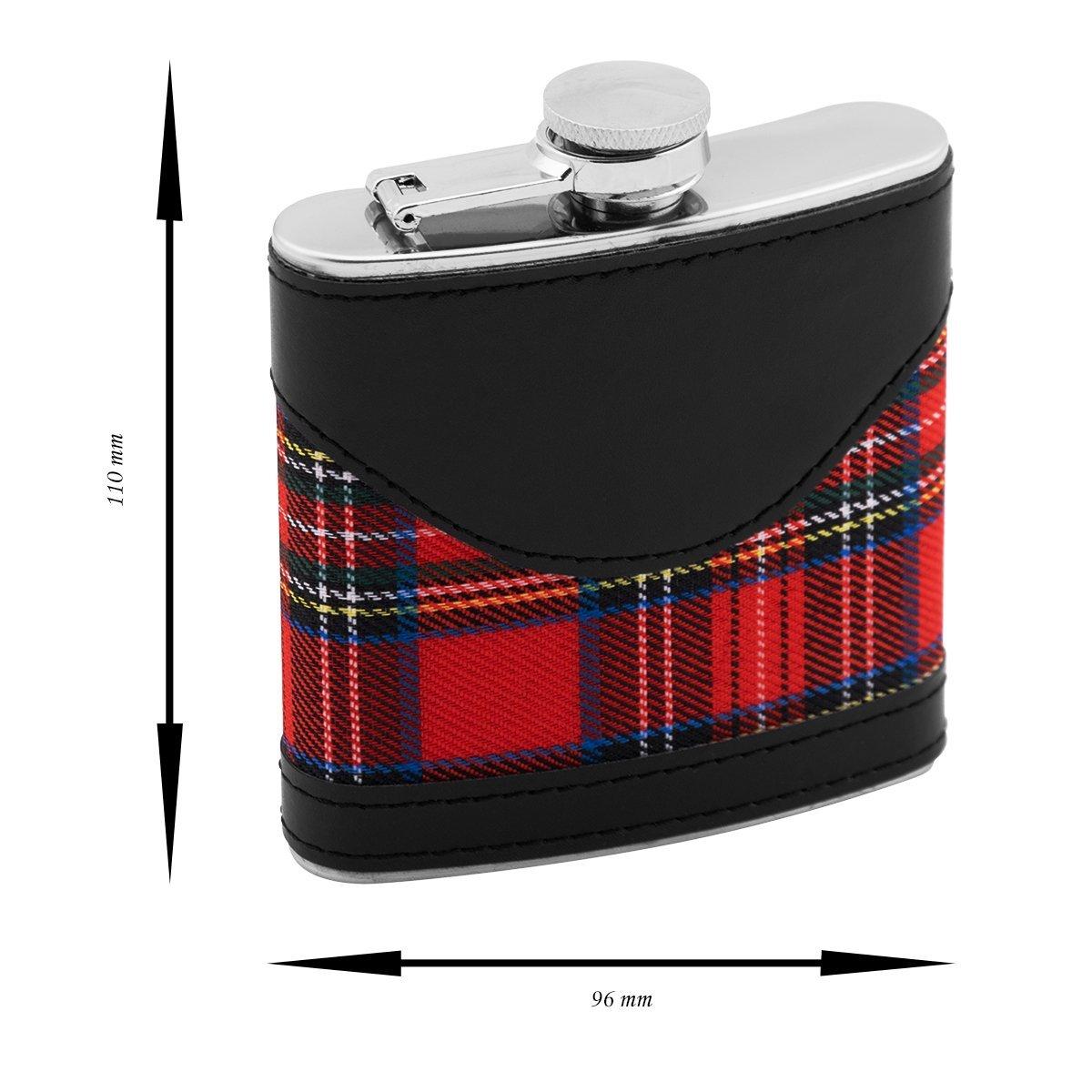 Piersiówka czarna + szkocka krata z kieliszkami ze stali Prezent na Urodziny Grawer