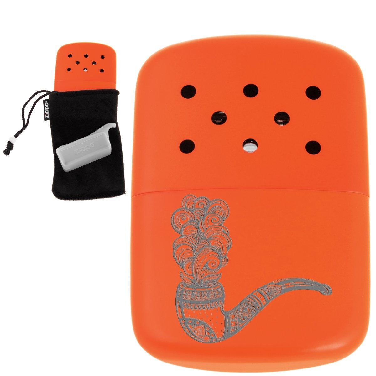 Pomarańczowy oryginalny kieszonkowy ogrzewacz benzynowy ZIPPO + Grawer