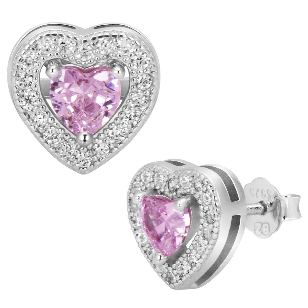 Srebrne kolczyki pr. 925 serce z różową cyrkonią DEDYKACJA
