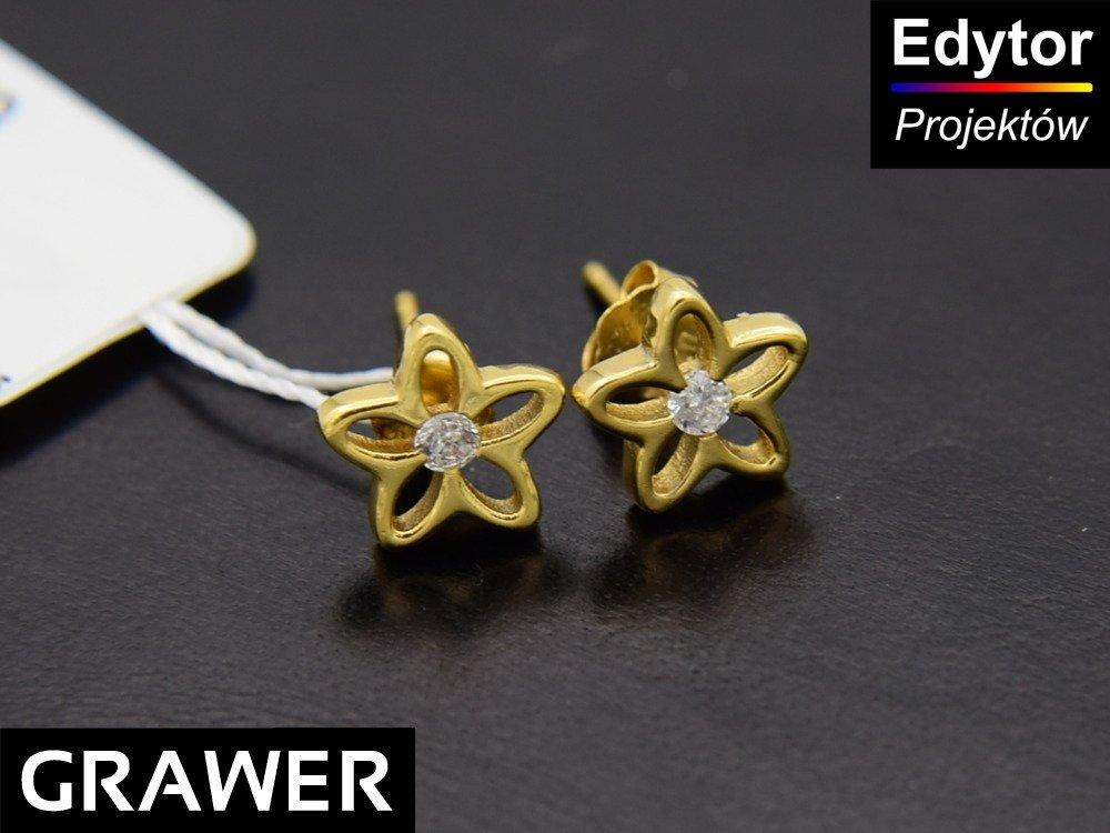 Srebro kolczyki 925 kwiatki złocone Chrzest GRAWER