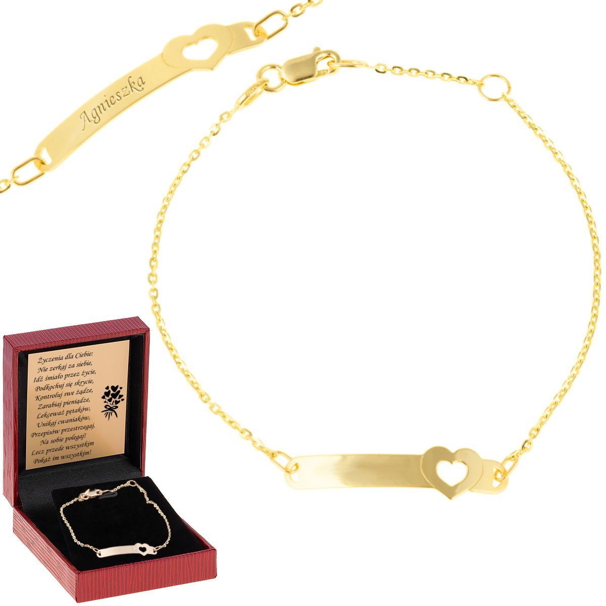 Złota bransoletka z blaszką i serduszkiem pr. 585 Grawer
