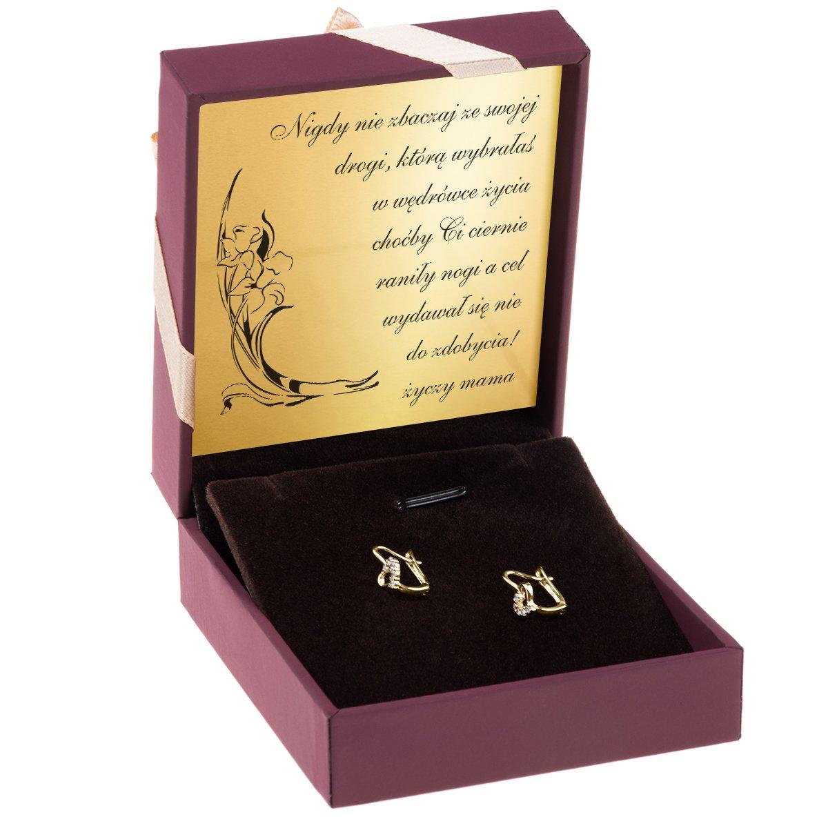Złote kolczyki pr 333 serduszko z cyrkoniami Prezent z Dedykacją