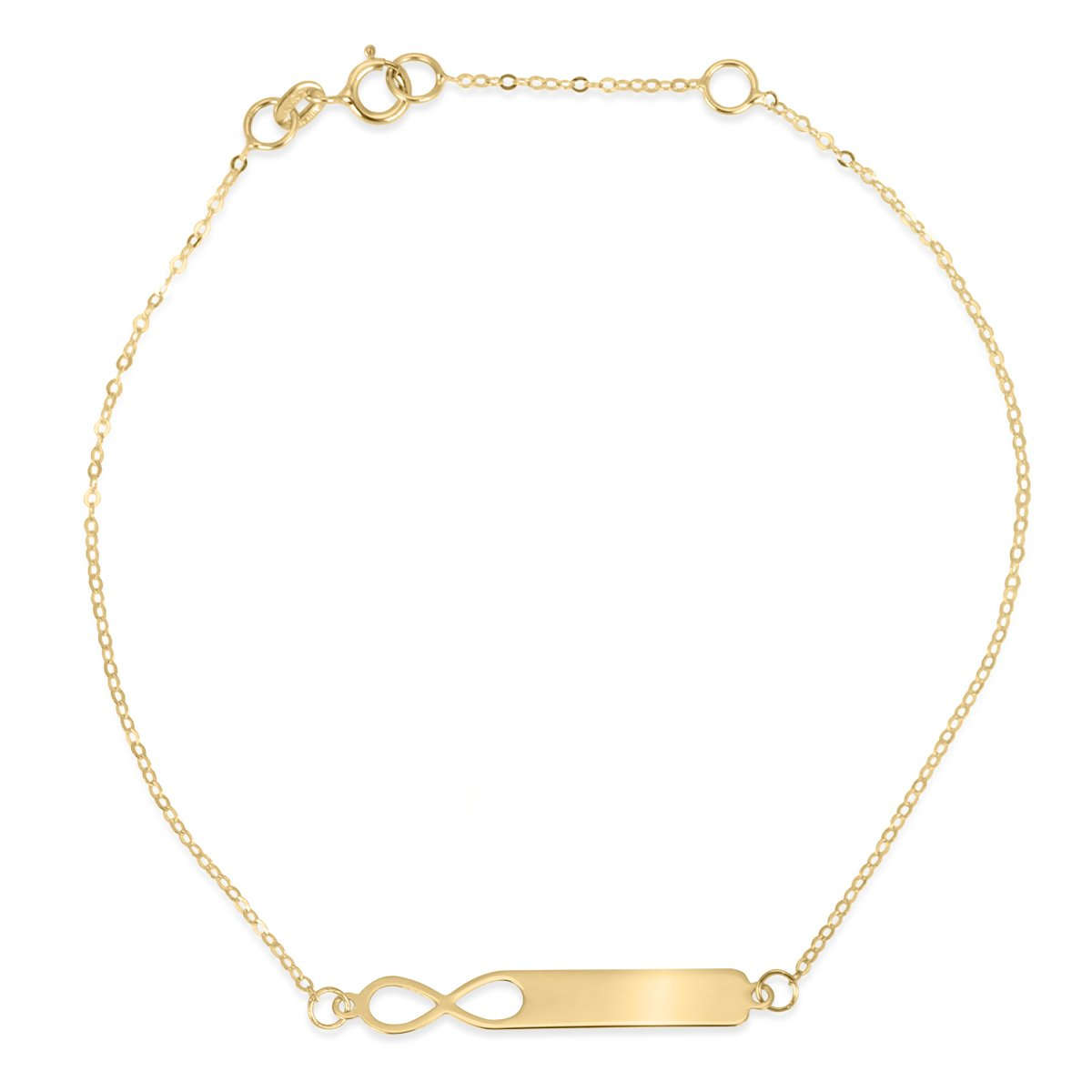 Złoty komplet naszyjnik i bransoletka pr. 585 nieskończoność z blaszką GRAWER