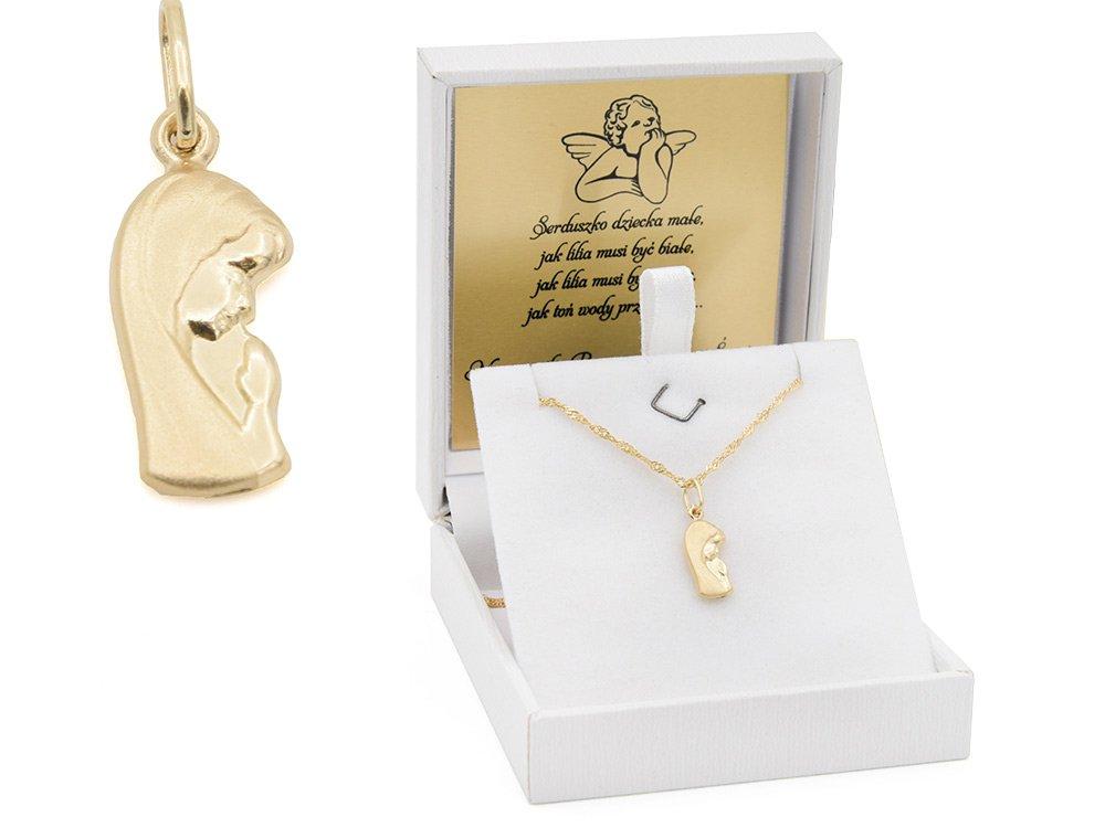 Złoty medalik z Matką Boską pr. 585 łańcuszek Pamiątka Chrzest Święty Komunia Bierzmowanie GRAWER niebieska kokardka