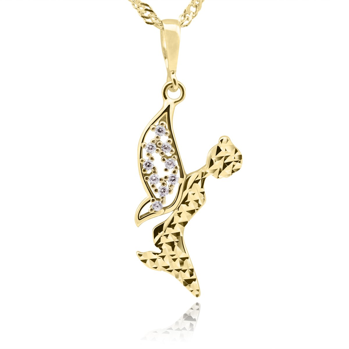 Złoty wisiorek z kryształkami pr. 333 Elf