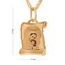 Złoty medalik z łańcuszkiem pr. 585 Matka Boska z Małym Jezusem na Chrzest Komunię Grawer 3